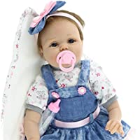 55 CM Lindo Bebé Reborn Vestido de Mezclilla Muñeca de Silicona Realista Muñeca Recién Nacida Chica