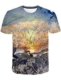 d4916b2973 Camiseta de Manga Corta para Hombre Club de Verano Campo Cubierto de Nieve  en 3D Impreso