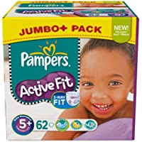 Pampers Active Fit Nappies Size 5+ Junior Plus 13 - 27 kg Jumbo Plus 1 Pack x 62