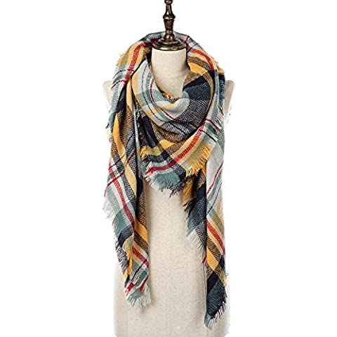 Natural Feelings Elegante inverno caldo grande coperta Tartan Plaid Scarf Wrap scialle
