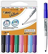 BIC Velleda 1741 marcadores de pizarra punta media para pizarra blanca – Caja de 8 unidades, colores surtidos,