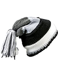 MB Colourful Knitted Beanie Hat with Tassles - Warm Beany Cap