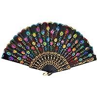 Ventilador de mano plegable de seda Patrón Xiton Peacock patrón de flores bordado Negro tela de encaje de las lentejuelas flor española estilo decorativo de moda (colorido)