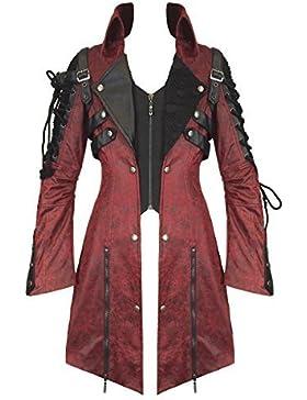 Poison Punk Rave chaqueta de hípica para niños de color rojo de piel sintética negro Steampunk fangbanger para...