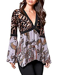 1978e492545 Mounter Womens Vintage Floral Print Long Sleeve Top,New 2019 [V-Neck Tunic  Tops] Ladies Leopard Print Casual Patchwork Irregular Hem T…