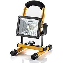Foco LED Proyector GRDE, Lámpara Camping 15W, Foco LED Reflector para Trabajo Exterior, Lámpara Proyector LED, Luz Portátil para Trabajo de Noche, Iluminacion Exterior Recargable del Jardín al Aire Libre, Patio, Terraza, Pescado, Camping, Luz Protector Portátil Color Amarillo