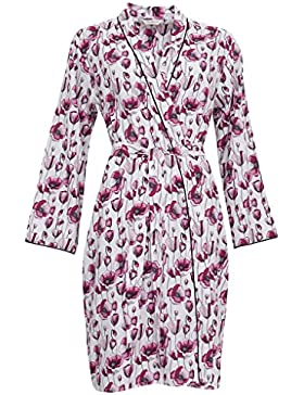 Cyberjammies 3229 Women's Stephanie Black and Pink Poppy Print Cotton and Modal Dressing Gown Loungewear Bath...