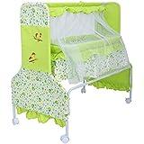 Baybee Baby Comfort Cradle Cot | New Born Baby Swing Cradle With Mosquito Net & Wheel Newborn Bedding Sets/Baby Nursery Bedding Bassinets (Green)