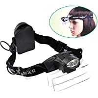 Cabeza Lupa Gafas con Luz Led Lupas de Gran Aumento Professional para Leer,Extensión de Pestañas,de Reparación Relojes,Costura,Manualidades,5 Lentes Intercambiables,1,0X-6,0X