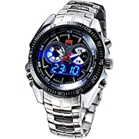 LEORX TVG Uomo Dual Time LED Sportivo Digital Quartz Watch Orologio Impermeabile (nero)