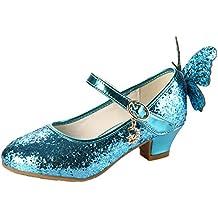 0baaac56234b Eleasica Fille Haute Qualité Chaussures de Princesse Reine des Neiges Elsa  Anna Talons Plats Paillettes Déguisement