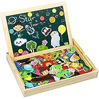 TONZE Pizarra Magnética Niños Rompecabezas Madera Pizarras Infantil Montessori Juguetes Puzzle de Madera Tablero de Dibujo de Doble Cara para Niños 170+ Piezas