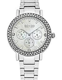 SO & CO New York 5216B.1 - Reloj de pulsera Cuarzo Mujer correa deChapado en acero inoxidable Plateado
