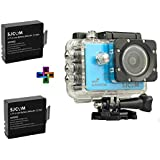 SJCAM SJ5000X Elite 4K 24 fps Sony IMX078 Waterproof WiFi Action Helmet Camera 2 Batteries Blue at amazon