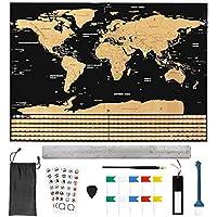 BUZIFU Mapa Mundi Rascar(82.5 x 59.4cm) con 18 Accesorios, Rasca Los Países/Islas/Ciudades Visitados, para los Amantes de Viajar y Conocer Mundo, ésta es la Mejor Manera de Grabar Aventuras de Ustedes