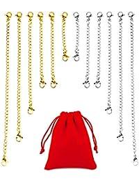OOTSR 12 piezas extensor de cadena, 5 tamaños Extensor de collar de extensión de pulsera de acero inoxidable para hacer joyería de bricolaje, con una bolsa pequeña de franela, plata y oro