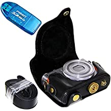 First2savvv XJPT-G9X-01G10 Funda Cámara cuero de la PU cámara digital bolsa caso cubierta con correa para Canon PowerShot G9X G9 X negro + lector de tarjetas SD