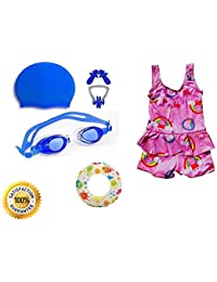 7ff673b765 Baby & Sons Girls Swimming Kit with Swimming Costume (Color/Design May  Vary) Swimming Goggles Silicone Swimming Cap 1 Nose Clip 2…