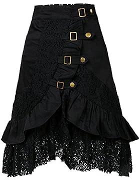 Mujer Punk Rock Gótico Faldas De Encaje Asimétrico Falda Negro XXL