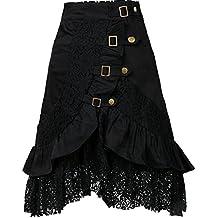 Mujer Punk Rock Gótico Faldas De Encaje Asimétrico Falda Negro S