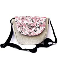 Woca Designs Abstract Prints Canvas Sling Bag For Women/girls(Pink/Grey)
