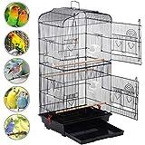 Yaheetech Volière cage à oiseaux mangeoire oiseaux avec 4 perchoirs 46 x 36 x 92 cm