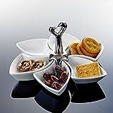 Snackschale, Malacasa, Serie Special.Shap, 6 teilig Drehbar Dessertschale mit Griff Porzellan Pommesschale Vorspeise Nachtisch Snacks Chips Fingerfood Schälchen Dipschale Servierschale
