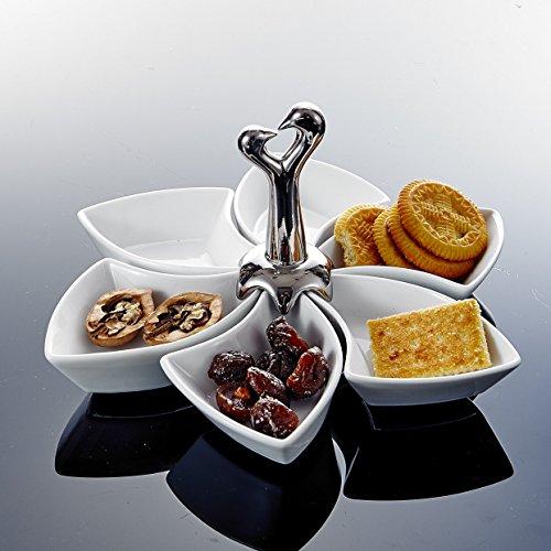 MALACASA, Serie Special.Shap, 6 teilig Snackschale, Drehbar Dessertschale mit Griff Porzellan Pommesschale Vorspeise Nachtisch Snacks Chips Fingerfood Schälchen Dipschale Servierschale
