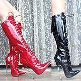 High Heels 16 cm Hochhackigen Schuh Modell Stiefel,42,schwarz