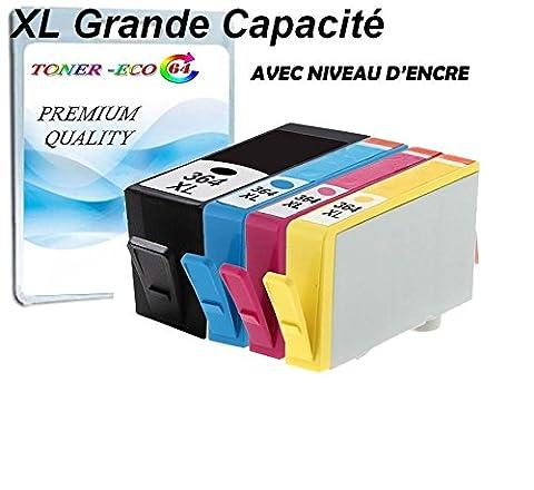 HP 364 xl, x4 GRANDE CAPACITE avec puce nivreau d'encre,