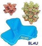 1 Stück _ Blumentopf - BLAU - für 3 Pflanzen - STAPELBAR - incl. Name - Blumenkübel / Pflanzkübel / aus hochwertigen Kunststoff - z.B: Kräutergarten - Kasten / Topf - Blumen - Garten & Terrasse Kräuterinsel - Blumeninsel - Pflanztopf zum Stapeln - wie Blumenampel - Blumenkasten