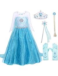 AmzBarley Disfraz Traje de Elsa Princesa Frozen Niña 75c9f087cfea