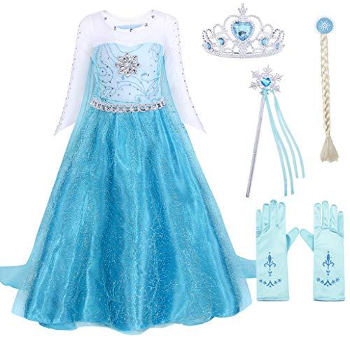 AmzBarley ELSA Kostüm Prinzessin Kleid Eiskönigin für Kinder Mädchen Kleider Halloween Cosplay Geburtstag Party Verrücktes Kleid Karneval Zeremonie Ankleiden, Blau mit Dekorationen, 5-6 Jahre