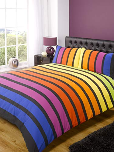Rapport Soho Multi Stripe Bettbezug Quilt Betten-Set, Gelb Blau Violett, King Größe-Schlafzimmer Bettwäsche - Bettbezug Gelb King-set