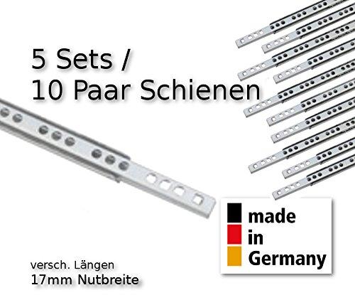 10 Stück (5 Satz) Schubladenschienen Teilauszug Rollenauszug Teleskopschiene Kugelführung L 278 mm Nut 17x10mm - LIVINDO