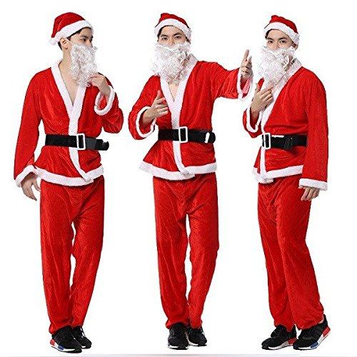 Big Bart Kostüm - Bazaar Herren 's Christmas Leistung Kleidung Gold Samt Santa Claus Kostüm Hat Bart Garment Hose Gürtel