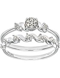 Naava 9ct White Gold 0.07ct Diamond Cluster Bridal Set Ring