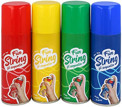 COM-FOUR® 4er Set Luftschlangen aus der Dose - tolle Dekoration für Ihre Fete! - Gelb, Grün, Blau, Rot (004 Stück - 83ml Spray) - Luftschlangen Grüne