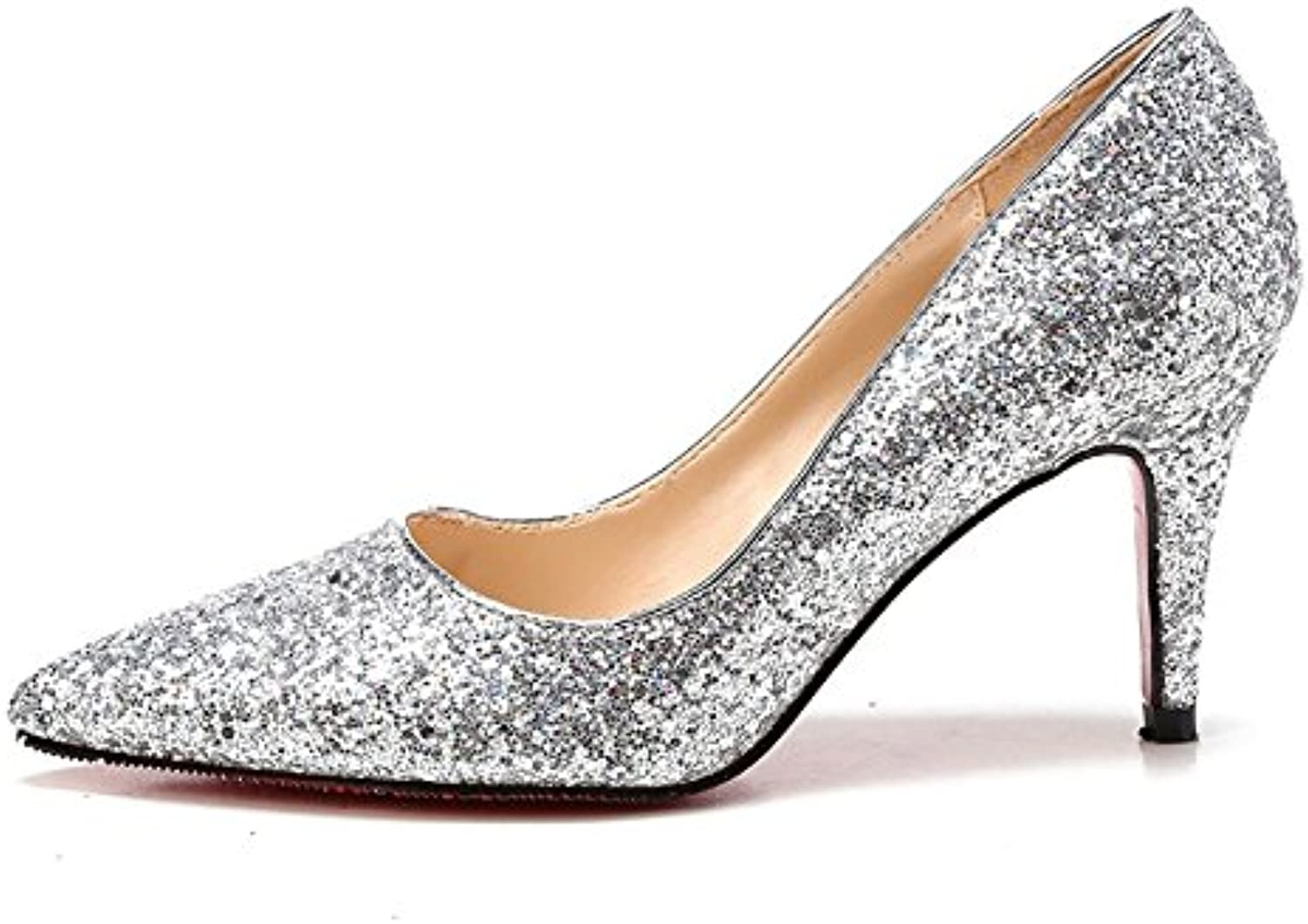 fd9d8e12b8f4 Women s Silver Sequin Sequin Sequin High Heels Bridal Wedding Shoes Crystal  Shoes B07CWTDDLF Parent 885396