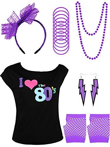 Yaomiao 80er Jahre Kinder Kostüm Zubehör Set, Gehören T-Shirt, Fischnetz Handschuhe, Armbänder, Halskette, Ohrringe, Spitze Stirnband für Party Kostüm Gefallen (Farbe 2, 8 - 10 Jahre)