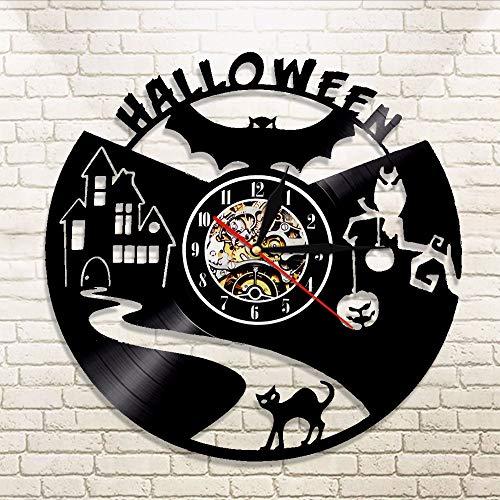 Wanduhr 1 Pieza De Halloween Murciélago Vampiro.Disco De Vinilo Reloj De Pared Decoración Reloj De Pared Negro Silueta De Gato Cortar Lp Reloj Arte Moderno De La Pared ()