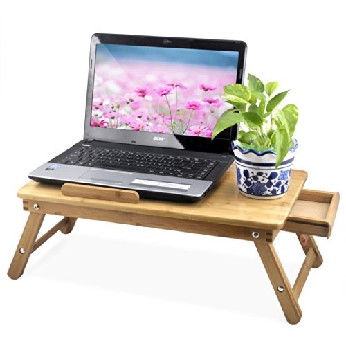 Popamazing Portable Bamboo Laptop Desk Notebook Tray Table Bed Table , Flower Style design, play games on bed Test