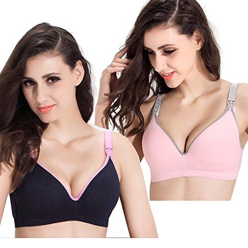 Topwhere® Sujetador Lactancia Premamá Algodón con (90B (34B), Pink+ Navy)