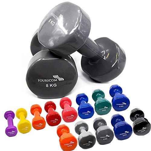 2er Set FOURSCOM® 2x 8kg Vinyl Hanteln Kurzhanteln Gymnastikhanteln, 13 verschiedene Gewichte und Farben zur Auswahl