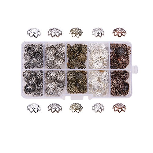 PandaHall 1 Scatola Circa 525pcs 5 Colori Tappi di Perline coppette copriperla per bigiotteria di Ferro Filigrana Fiore Bead Caps per Braccialetti collane Orecchini Fai da Te Accessori di Gioielli