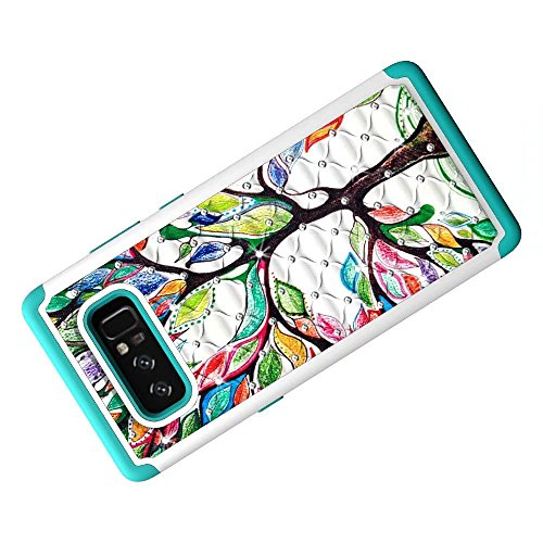 Note 8 Case, Lantier Shockproof Slim Dual Layer Heavy Duty Hybrid Armor Studded Rhinestone Bling Diamond Hard Soft Silicone Shell Crystal Cover with Flower Pattern pour Samsung Galaxy Note 8 Arbre d'amour