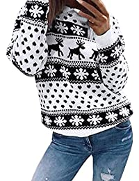 Beikoard Damen Weihnachten Gedruckter Rundhalsausschnitt Pullover Langarmbluse Sweatshirt