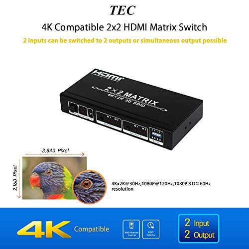 Tec 4 K HDMI Matrix Switch Switcher Splitter 2 in 2 Out HDCP - Hdmi Component Selector