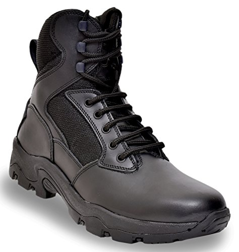 Allen Cooper AC-6053 Zipper Combat Safety Boot, ISI Marked for IS 15298, Speed Lacing, Size 10 (BLACK)