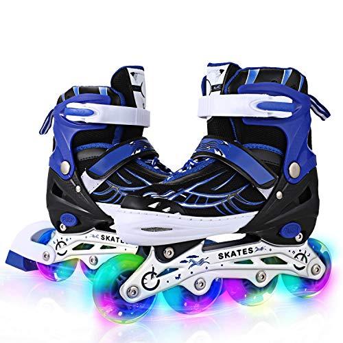 Profun Inline Skates Kinder Herren/Junge Verstellbar Rollschuhe Blau/Schwarz GrößE 35-38